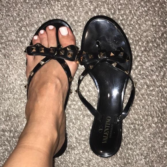 Valentino Studded Black Bow Sandal
